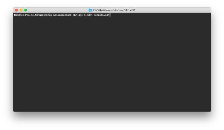 Ocultar archivo en Mac