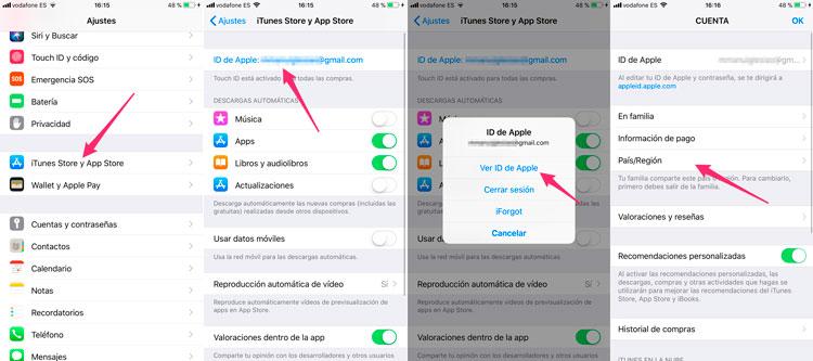Cómo cambiar el país de un Apple ID en iPhone