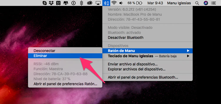 Quitar dispositivos Bluetooth en Mac
