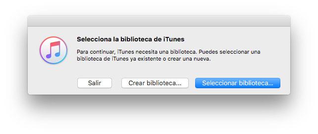 Seleccionar biblioteca de iTunes