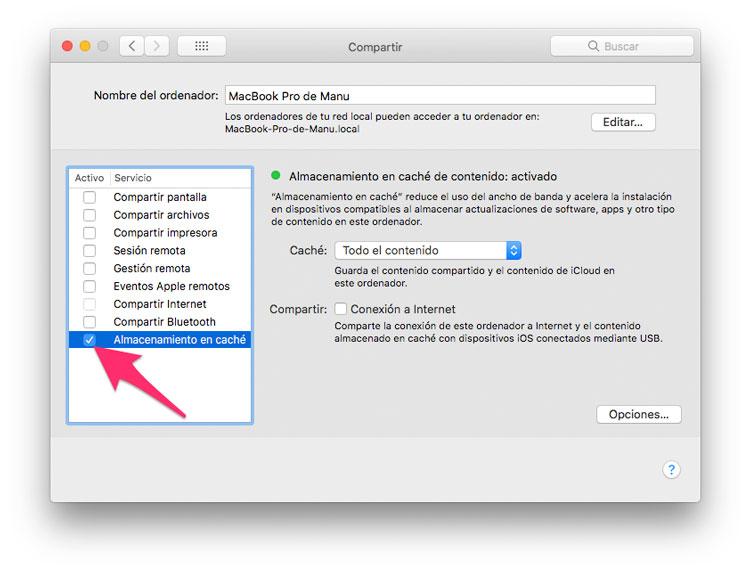 Cómo activar el almacenamiento en caché de macOS