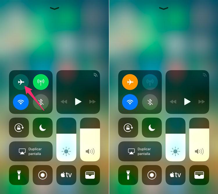 Activar y desactivar modo avión iOS