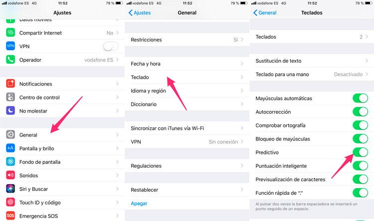 Cómo activar el teclado predictivo del iPhone