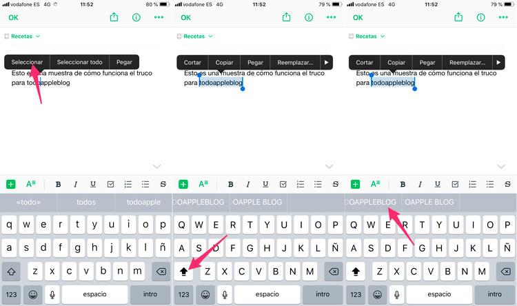 Truco para cambiar de minúsculas a mayúsculas rápido en iOS