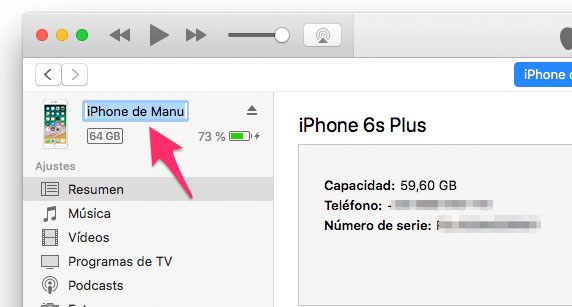 Cambiar nombre a iPhone desde iTunes