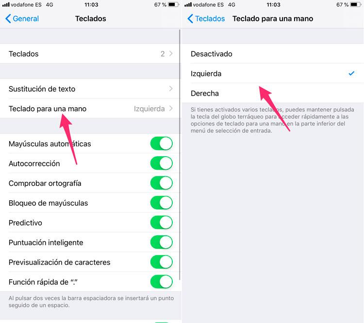 Configurar teclado para una mano iPhone
