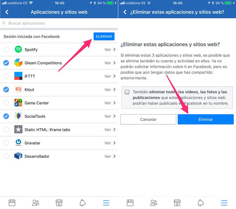Eliminar acceso a los datos de Facebook a las apps