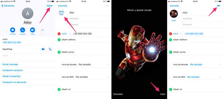 Asignar foto a contactos en iPhone