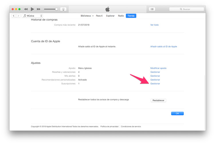 Quitar suscripción App Store desde iTunes