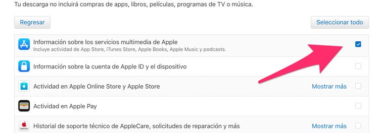 Información sobre los servicios multimedia de Apple