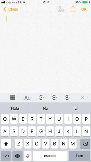Desplegar teclado iOS