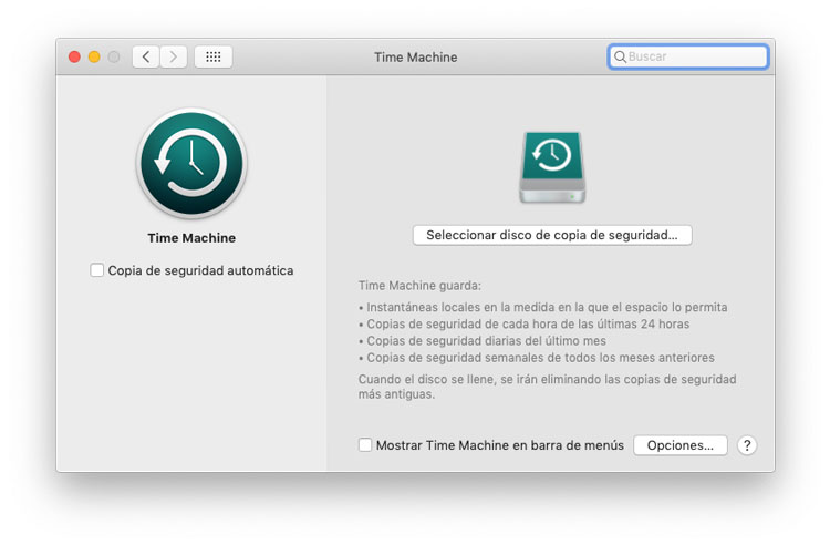 Activa las copias de seguridad de Time Machine