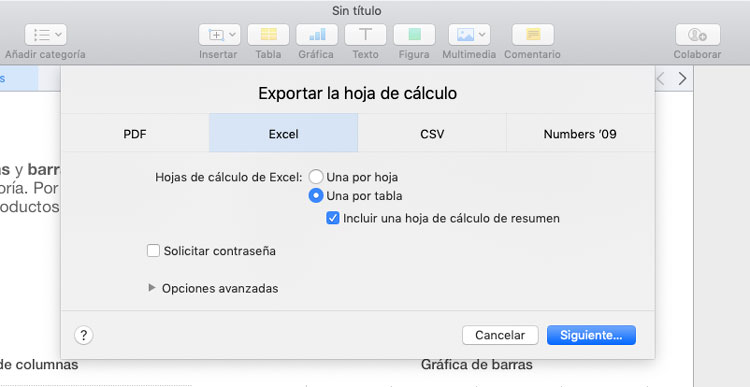 Convertir documentos de Numbers a Excel en Mac