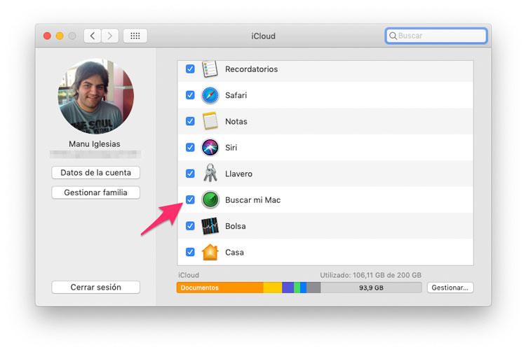 Desactivar Buscar mi Mac