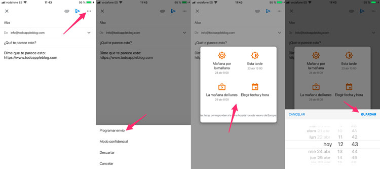 Programar el envío de correos en Gmail