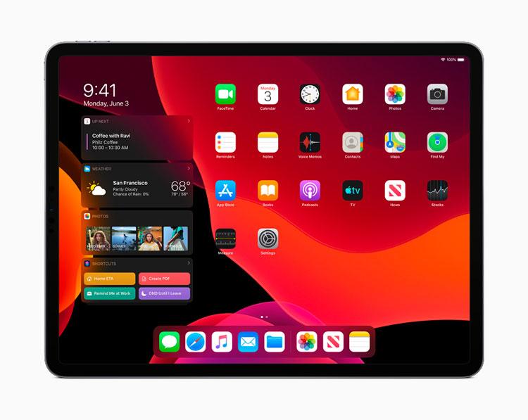 iPad Pro con el modo oscuro activo y compatible con Sidecar