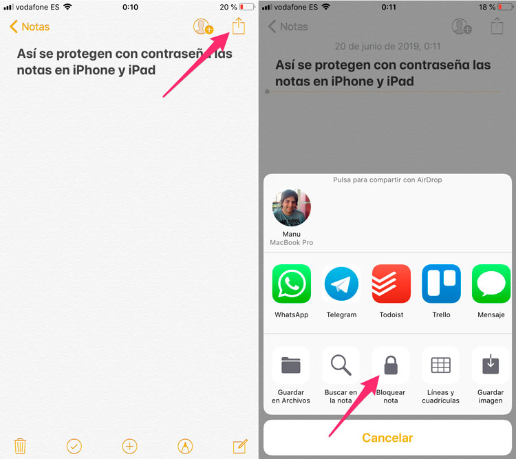 Pasos para proteger Notas con password en iOS