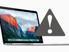 MacBook Pro son señal de advertencia