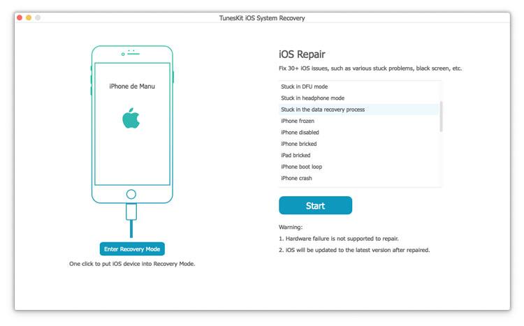 Reparar dispositivo iOS