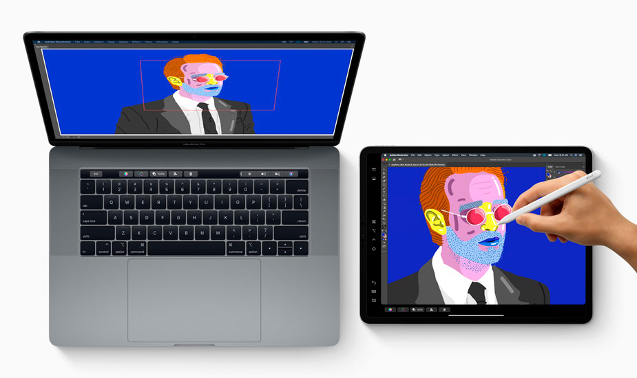 MacBook Pro conectado a un iPad Pro a través de Sidecar de macOS Catalina