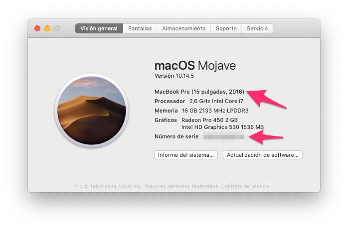 Ventana en la que aparece el número de serie de los Mac