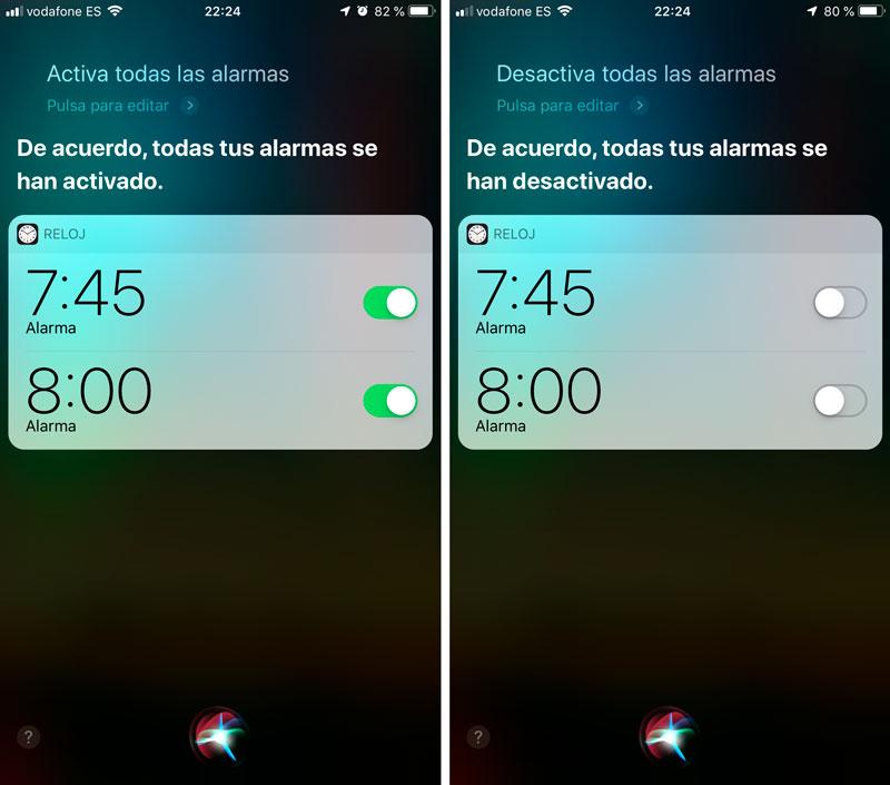Activar o desactivar todas las alarmas con Siri