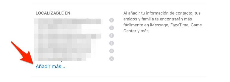 Añadir dato de contacto en FaceTime