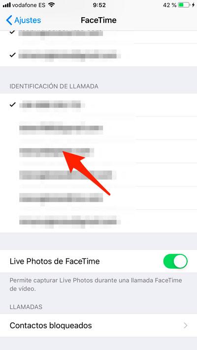 Identificador de llamada en iPhone