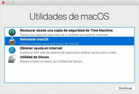 Ventana de Utilidades de macOS en el modo de recuperación a través de Internet