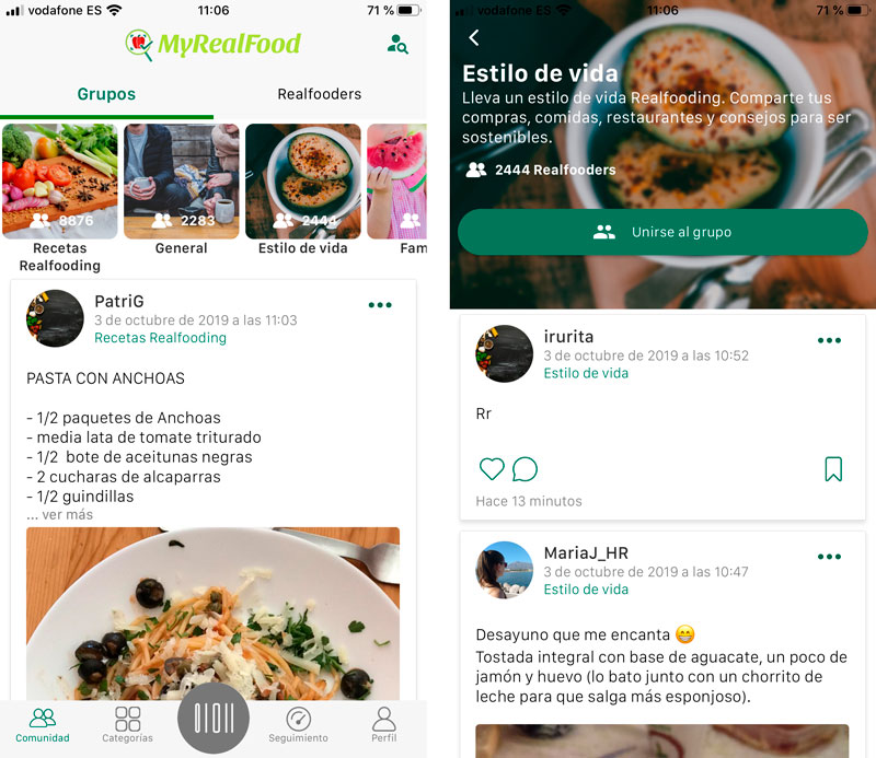 Comunidad de la app MyRealFood