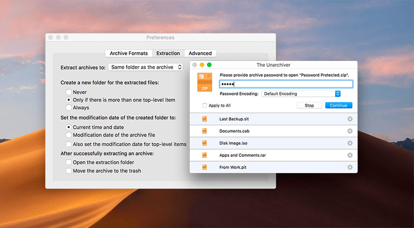 Descompresor de archivos para macOS