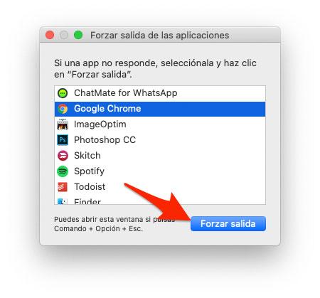 Forzar salida de las aplicaciones en macOS