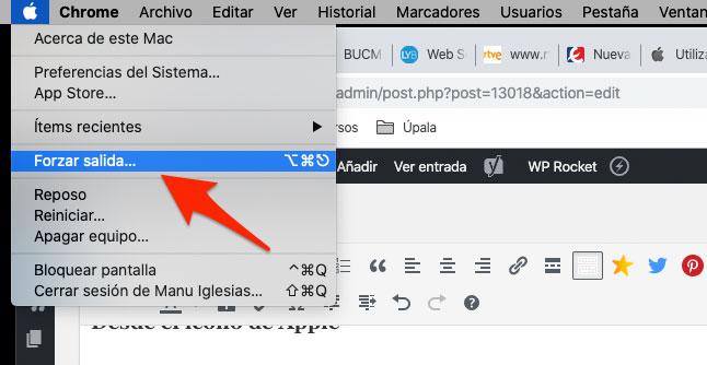 Forzar salida desde el menú del logo de Apple en Mac