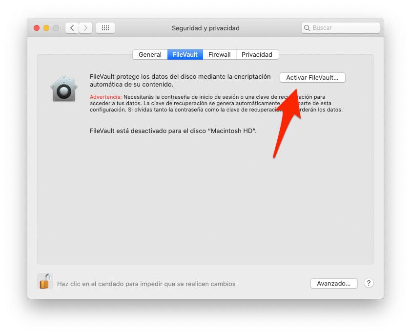 Activar FileVault en macOS