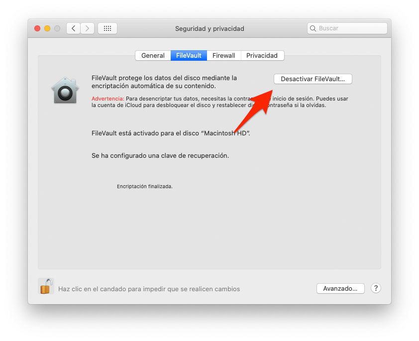 Desactivar encriptación de disco FileVault de macOS