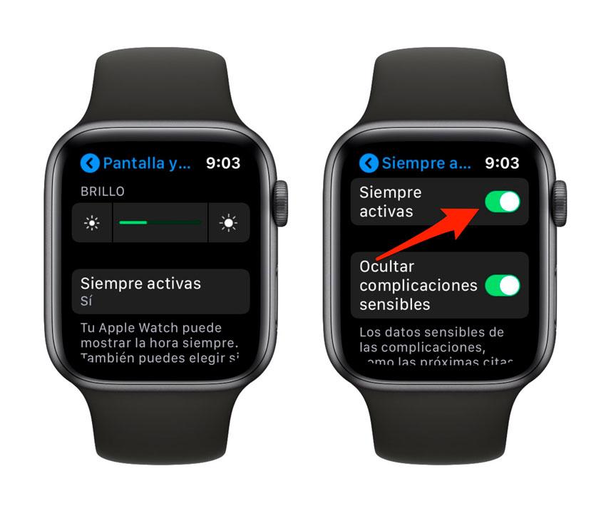 Desactivar pantalla siempre encendida del Apple Watch