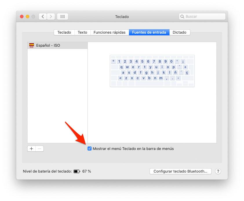 Mostrar menú teclado en Mac
