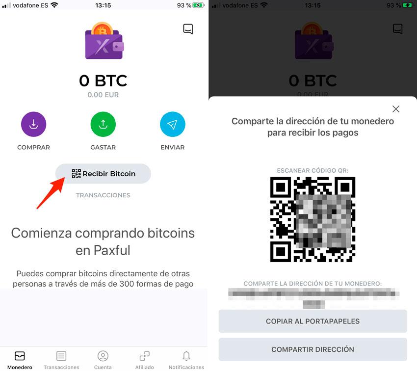 Recibir Bitcoin