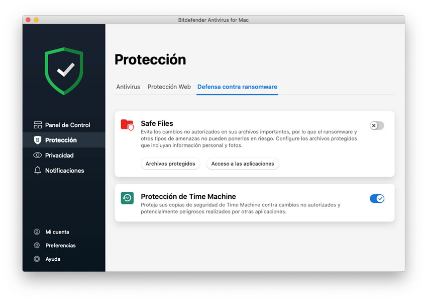 Safe Files y protección de backups de Time Machine