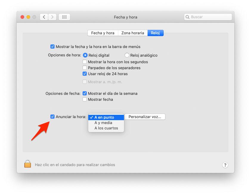 Anunciar la hora en Mac