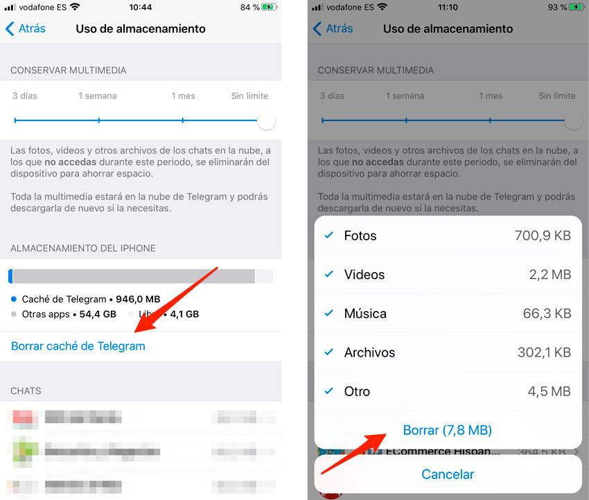Limpiar caché de Telegram