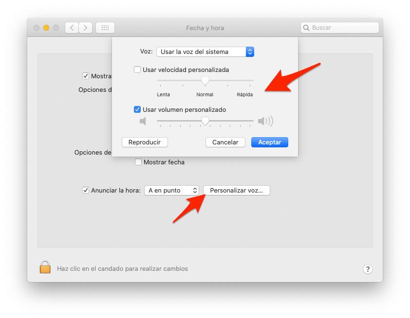 Personalizar anuncio de hora en Mac