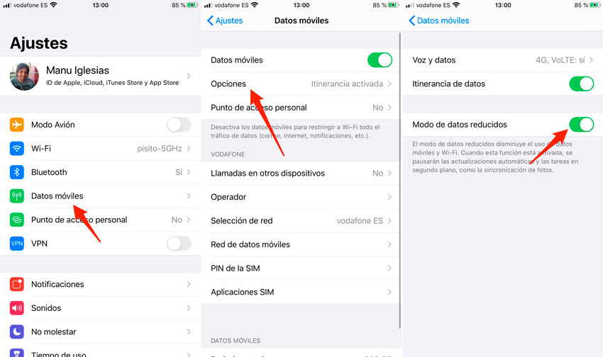 Activar modo de datos reducido del iPhone paso a paso
