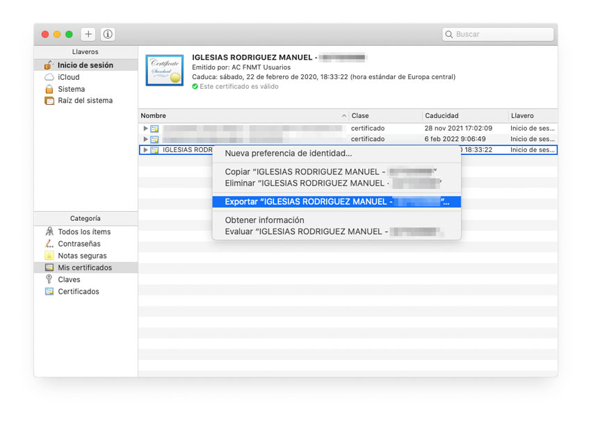 Exportar certificado digital en Mac