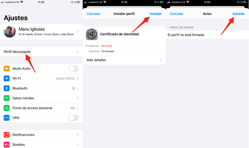 Cómo instalar un certificado digital en iPhone y iPad