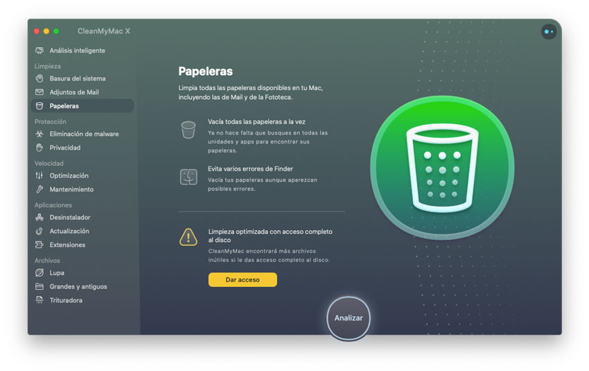 Optimización de Papeleras de CleanMyMac