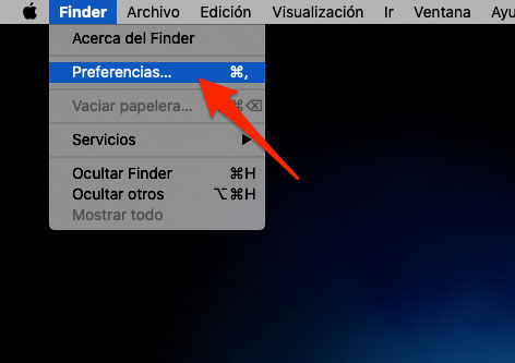 Abrir preferencias de Finder