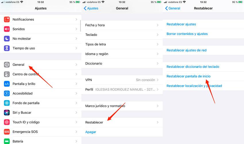 Restablecer pantalla de inicio iOS