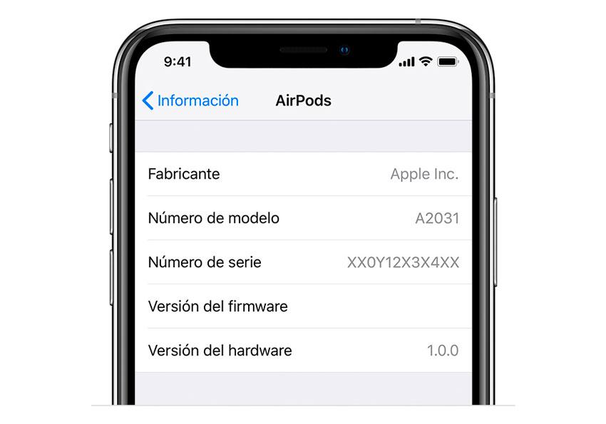 Número de serie AirPods desde un dispositivo iOS