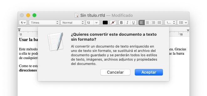 Convertir a texto sin formato